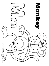 letter m monkey coloring page get coloring pages
