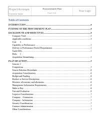 plan procurement management project management templates