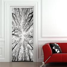 3d trees silhouette wall door stickers mural poster high end pvc