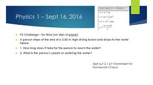 Water Challenge Steps Physics 1 Sept 16 2016 P3 Challenge Do Now On Slips Of