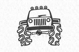 christmas jeep silhouette jeep off road svg dxf png eps ai files big 4x4 truck hand draw by
