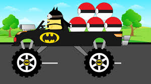 monster trucks videos for kids batman monster truck collecting pokemon monster trucks for