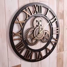 large wall clock handmade oversized 3d retro rustic decorative luxury art big gear