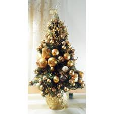Pre Decorated Christmas Trees Gold Predecorated Prelit Miniature Christmas Tree