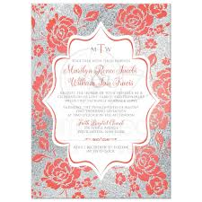 silver wedding invitations wedding invitation monogrammed coral floral on white