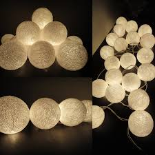 20 cotton balls white color fairy string lights party patio