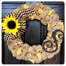 burlap sunflower wreath chevron burlap wreath with initial front door wreath