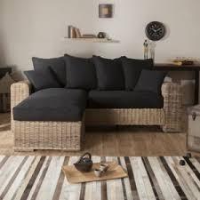 canape en rotin canapé d angle réversible en rotin et tissu coton noir 3 places