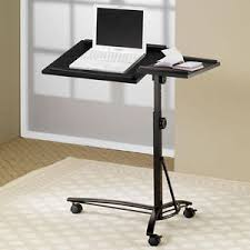 Small Smart Adjustable Height Swivel Top Black Computer Desk Mobile