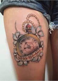 broken clock and chain tattoos on shoulder photo 2 photo