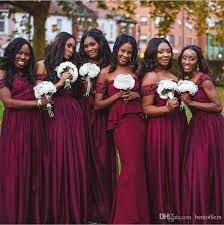 Arabic African Traditional Cheap Bridesmaid Dresses Deep Red f