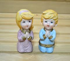 taiwan home decor vintage boy girl praying figurines figures homco made in taiwan
