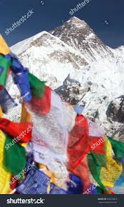 Small Prayer Flags View Mount Everest Buddhist Prayer Flags Stock Photo 626573819