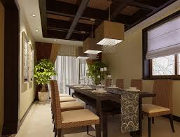 modern asian dining room with cube lights and wicker dining chairs