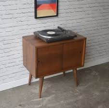 mid century record cabinet using an old steel library cart for a bookcase living room