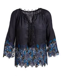 navy blue lace ribbon elie tahari mariella linen blouse w embroidered lace trim navy