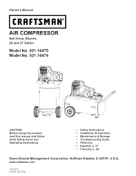 craftsman air compressor 921 16475 user guide manualsonline com