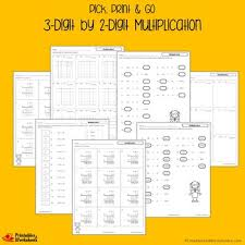 3 digits by 2 digits multiplication worksheets with answer keys