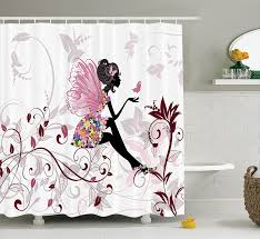 Amazon Com Shower Curtains - amazoncom girls shower curtain fairy decor by ambesonne pink