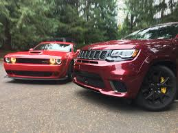 jeep trackhawk grey 2018 dodge challenger srt hellcat vs jeep grand cherokee