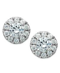 stud earings diamond halo stud earrings in 14k white gold 1 2 ct t w