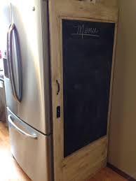 Bedroom Hide Small Refrigerator Old Door With Chalkboard To Hide Side Of Refrigerator What A