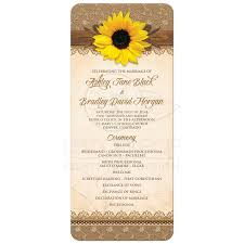 fall wedding programs wedding program rustic sunflower burlap lace wood