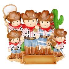 cowboy family with 3 kids personalized christmas ornament polarx