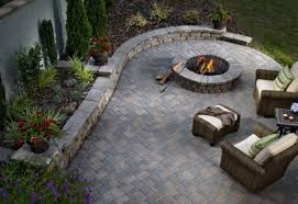 Belgard Fire Pit cambridge pavers and country manor wall look good from every angle