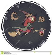 halloween background witch moon a flying witch on a broomstick on a background of the moon happy