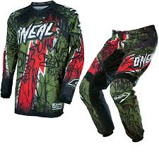 oneal element motocross boots oneal element 2017 vandal motocross jersey u0026 pants green red kit
