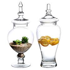 Amazon Set of 2 Decorative Clear Glass Apothecary Jars
