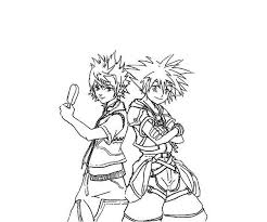 sora riku kingdom hearts coloring netart