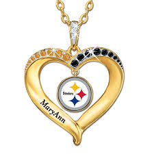 personalized heart pendant the pittsburgh steelers personalized heart pendant the danbury mint
