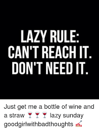 Sunday Meme - lazy rule can t reach it don t need it just get me a bottle of wine