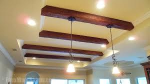 wood beam light fixture diy hanging lights installation faux wood workshop