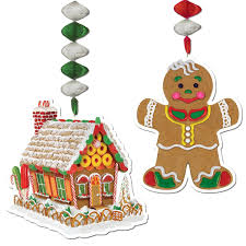 pack of 24 gingerbread house and man christmas dangler hanging
