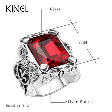red stones rings images Kinel punk style red glass ring men 39 s vintage jewelry high quality jpg