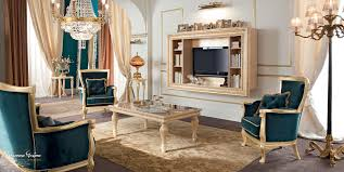 Italian Living Room Furniture Living Room With Velvet Upholstery And Furniture Covered By Gold