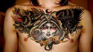 tattoo eagle girl wolf eagle and girl head chest tattoo tattooshunt com