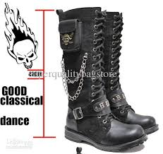 s boots lace s shoes side pocket knee high boots skull chains lace up