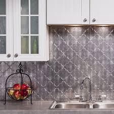 backsplash panels kitchen fasade monoco crosshatch silver 18 square foot backsplash kit