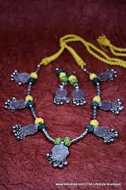 handmade fashion necklace images Oxidized german silver coins handmade jewellery set tektumba jpg