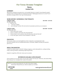 First Time Resume Sample by Resume Teenager Template Virtren Com