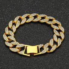 luxury bracelet gold chains images Best mens hip hop gold chain bracelets luxury simulated diamond jpg