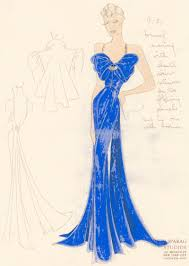pl 21 royal blue evening gown with gathered bow top and gold