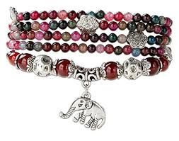 garnet gemstone bracelet images Good luck natural garnet agate stretch wrap bracelet jpg