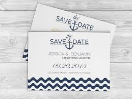 nautical wedding save the date template navy anchor wave chevron