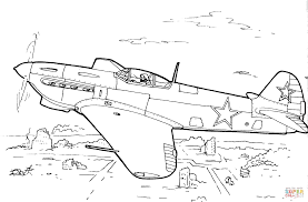 yakovlev yak 7 fighter aircraft coloring page free printable