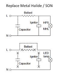 metal halide l circuit diagram brite source 20w led corn light mh son replacement es cap